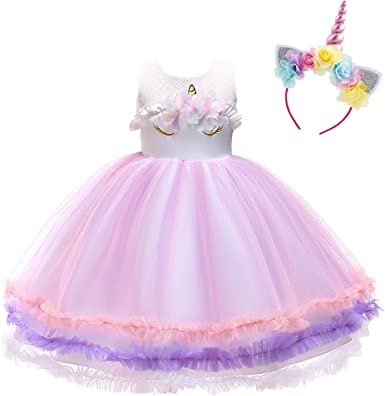 Baby Kid Unicorn Flower Girls Dress Cosplay Princess Fancy Party Costume Dresses