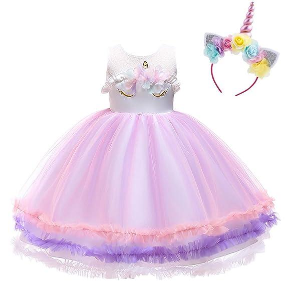 Vestido de Unicornio Niña Tutu Princesa Flor Navidad Disfraz ...