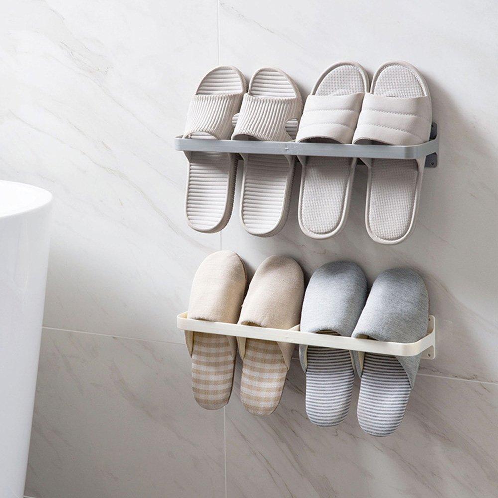 Esdella Schuhregal Gray zur Wandmontage White Simple 4er Set, pink, blau, grau, wei/ß Plastik h/ält alle Schuhe vom Boden fern Schuhhalter Set of 2