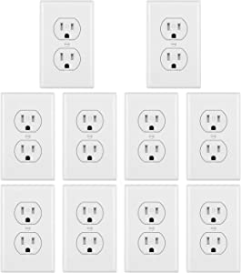 [10 Pack] BESTTEN 15A Duplex Receptacle Outlet, Tamper Resistant Outlet with Wall Plate, for Commercial and Residential Use, UL Listed, White