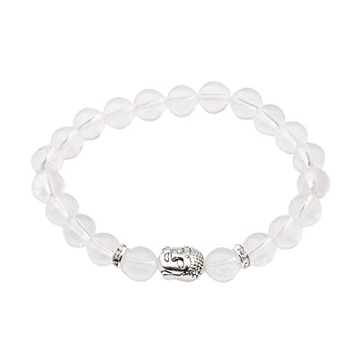 Joya Gift 8MM Natural Gemstone Chakra Buddha Head Stretch Bracelet for Women Men