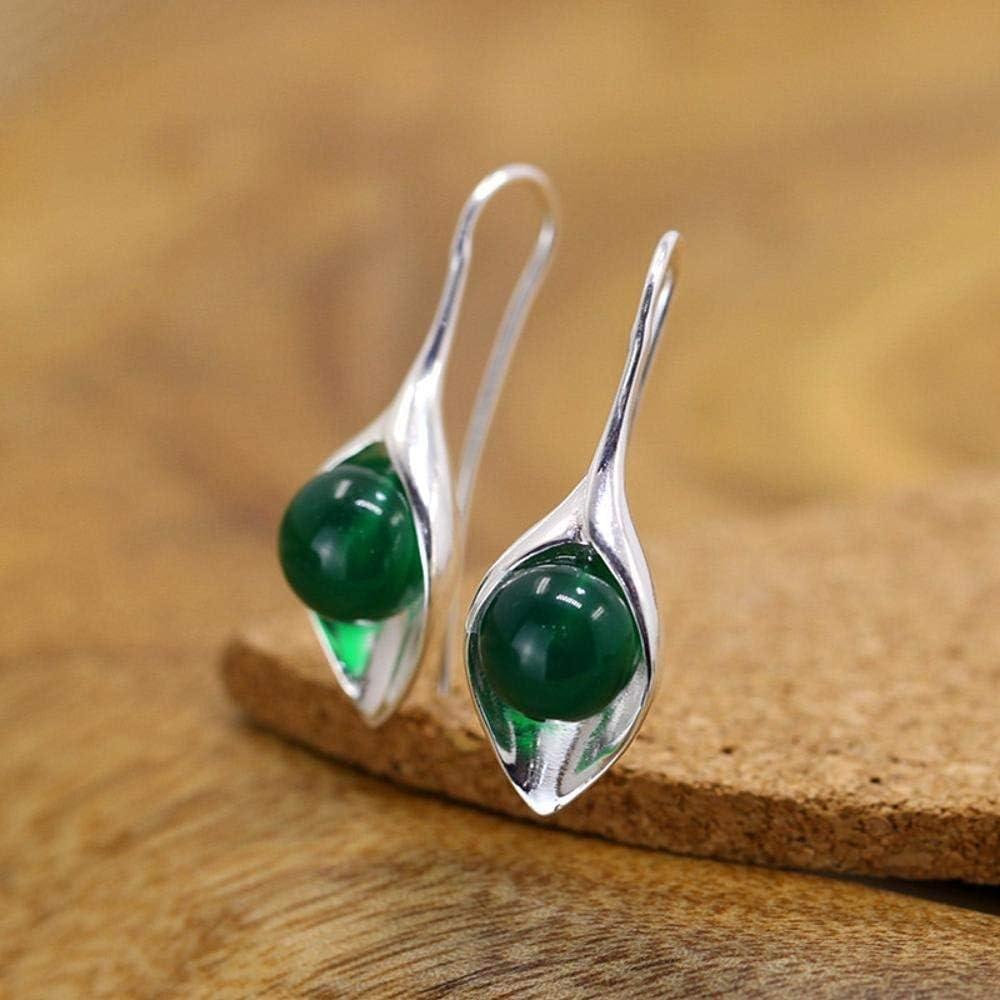 S925 Pendiente Femenino de Jade Verde Natural de Plata Pura para Mujer Regalo de Joyería Único Hecho a Mano, Thumby