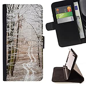 For HTC One Mini 2 M8 MINI Case , Invierno camino solitario melancólico fría nieve- la tarjeta de Crédito Slots PU Funda de cuero Monedero caso cubierta de piel
