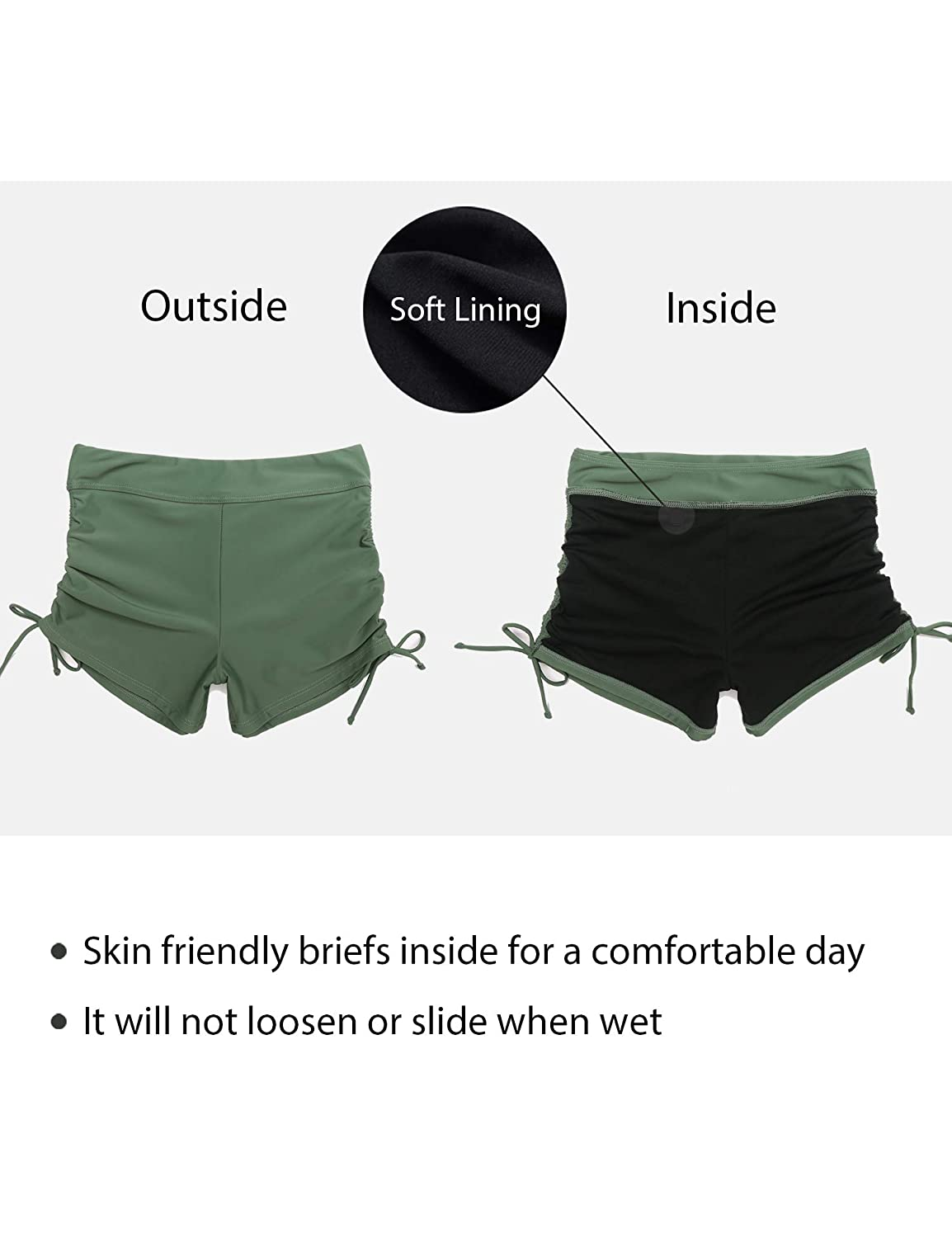 Lecieldusoir Womens Swim Shorts High Waist Boardshorts Boyshorts Tummy Control Bikini Swimsuit Bathing Suit Tankini Bottoms