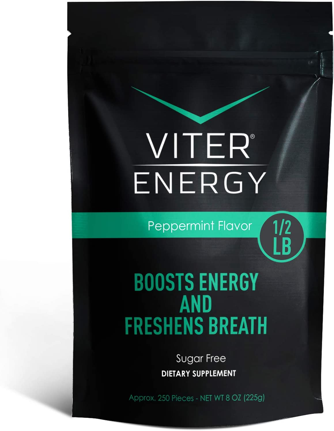 Viter Energy Caffeinated Mints - 40mg Caffeine & B-Vitamins Per Powerful Sugar Free Mint. Boost Energy, Focus & Fresh Breath. 2 Pieces Replace 1 Coffee (Peppermint, 1/2 LB Bulk (Mints Only))