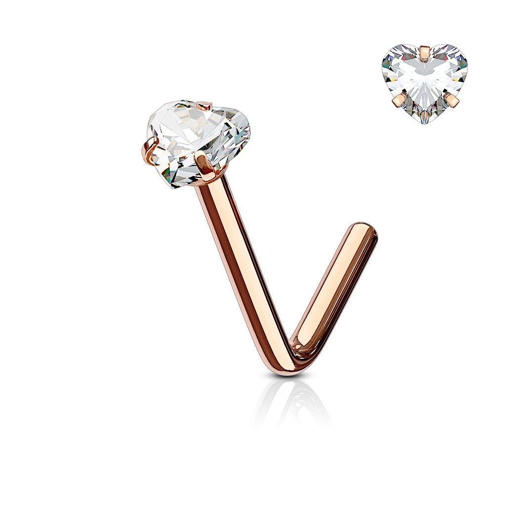 f872b7d34 Amazon.com: Heart Rose Gold Nose Stud Ring