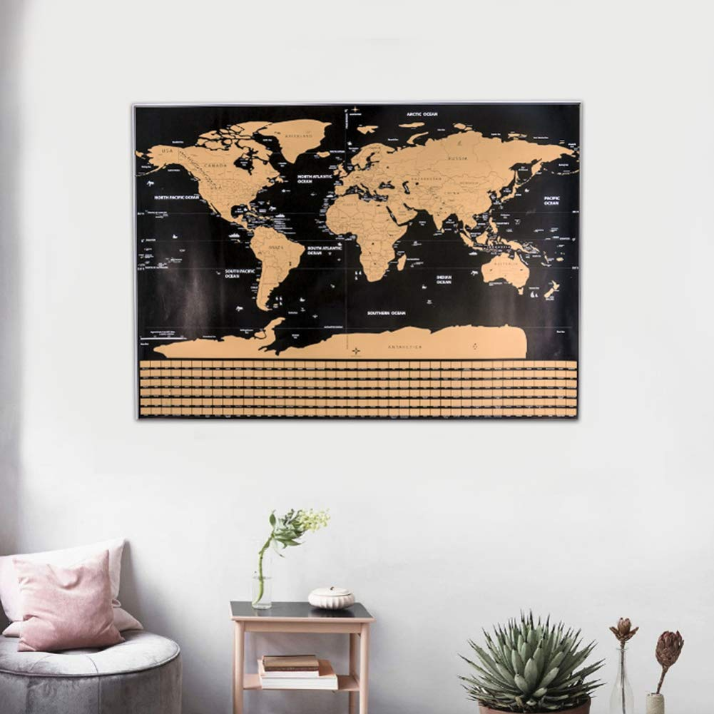 Homemust Scratch Off World Map Travel Poster with Country Flags for Home Decor