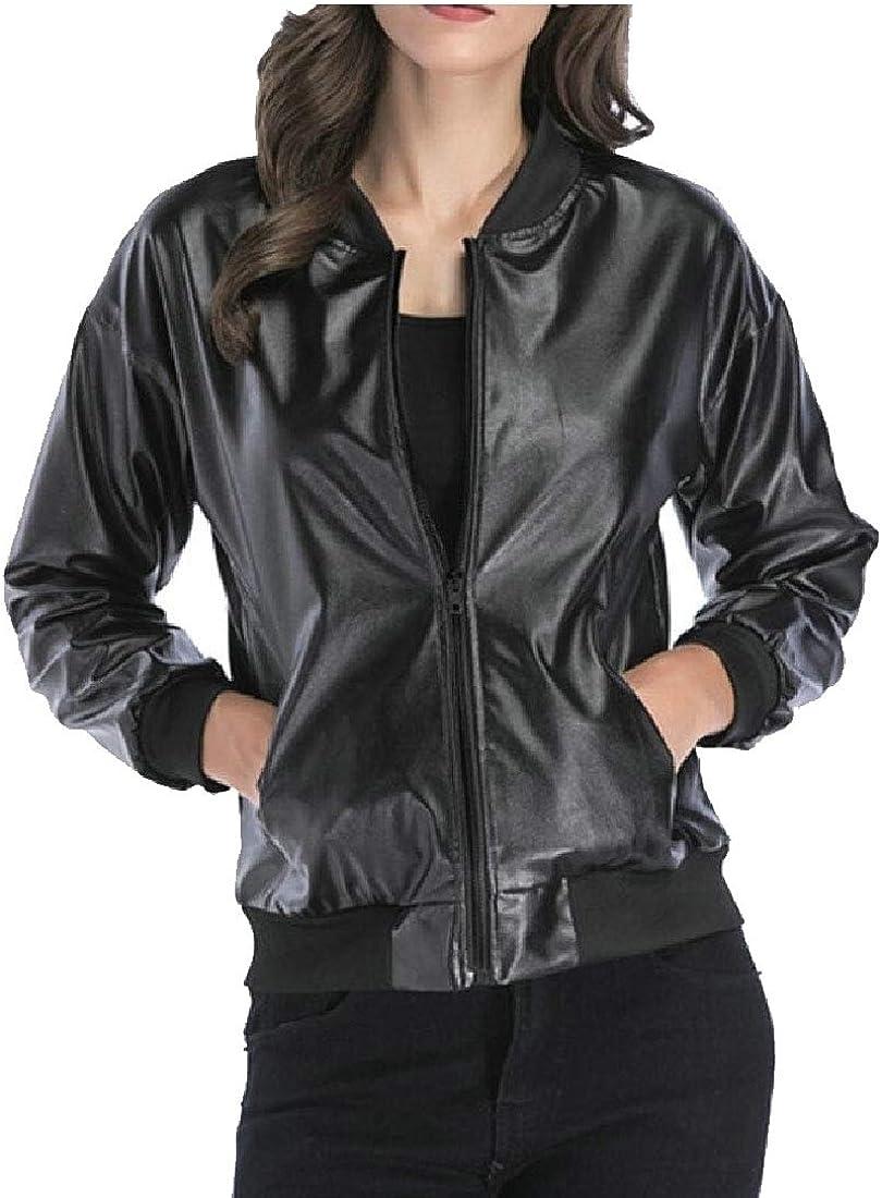 Keaac Women Faux Leather Jackets Zip Up Motorcycle Short PU Outwear Coat