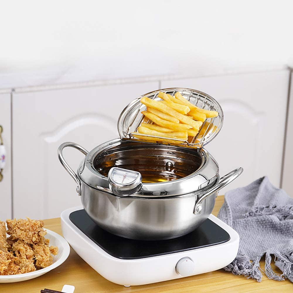 304 Stainless Steel Deep Fryer Pot Frying Chicken Pot with Temperature Control French fries Tempura Fryer Pan Uncoated Fryer (Diameter: 7.9
