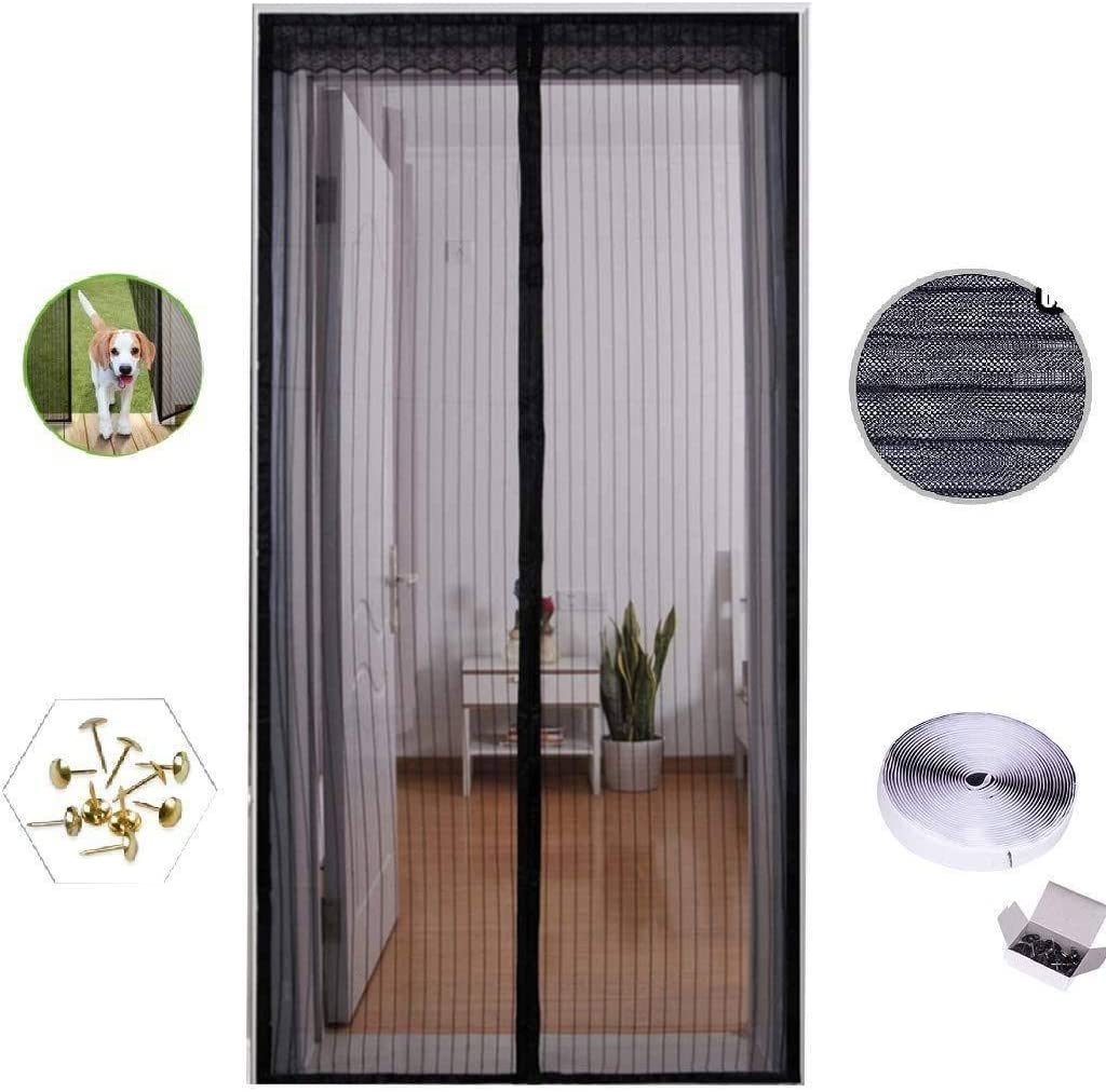 COAOC Mosquitera MagnéTica Mosquiteras Enrollables con Durable Anti Insectos Moscas y Mosquitos para Puertas Correderas Black 36x84in/90x210CM: Amazon.es: Hogar