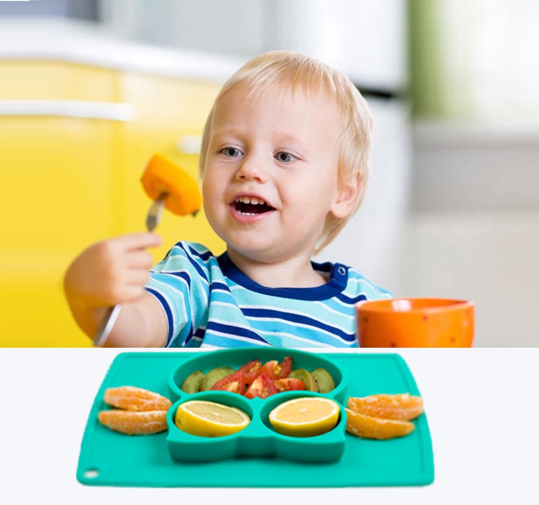 Portable Baby Plate for Toddlers and Kids BPA-Free FDA Approved Strong Suction Plates for Toddlers Qshare Toddler Plate Dishwasher and Microwave Safe Silicone Placemat 22 * 20 * 2.5cm