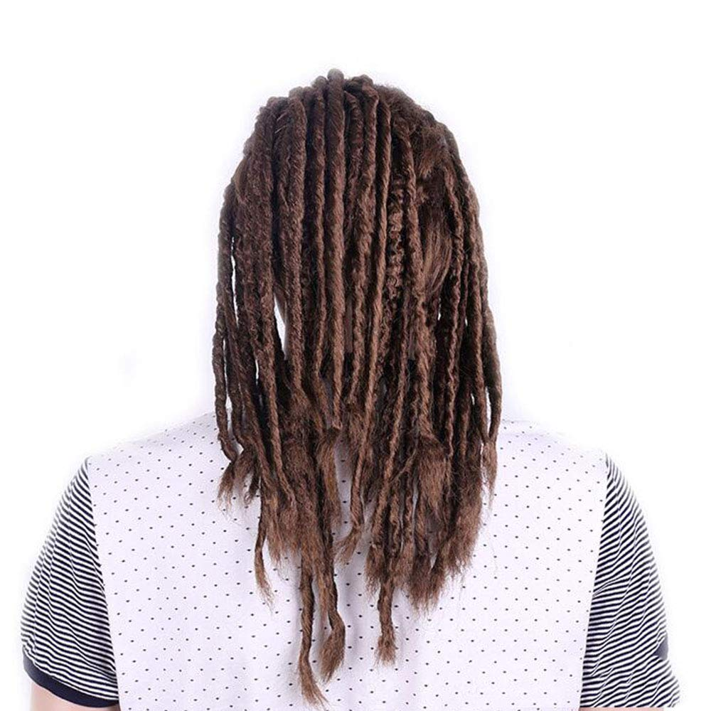 Costume De Cosplay Anime Male Guy Wig Marron Clair 50cm Dreadlocks Perruque Fris/éE Ondul/éE De Qualit/é NSYNSY Perruque Hommes Longue Tresse De Cheveux