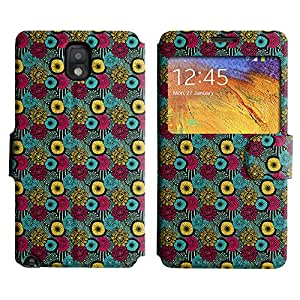 AADes Scratchproof PU Leather Flip Stand Case Samsung Galaxy Note 3 III ( Colorful Flower Pattern )
