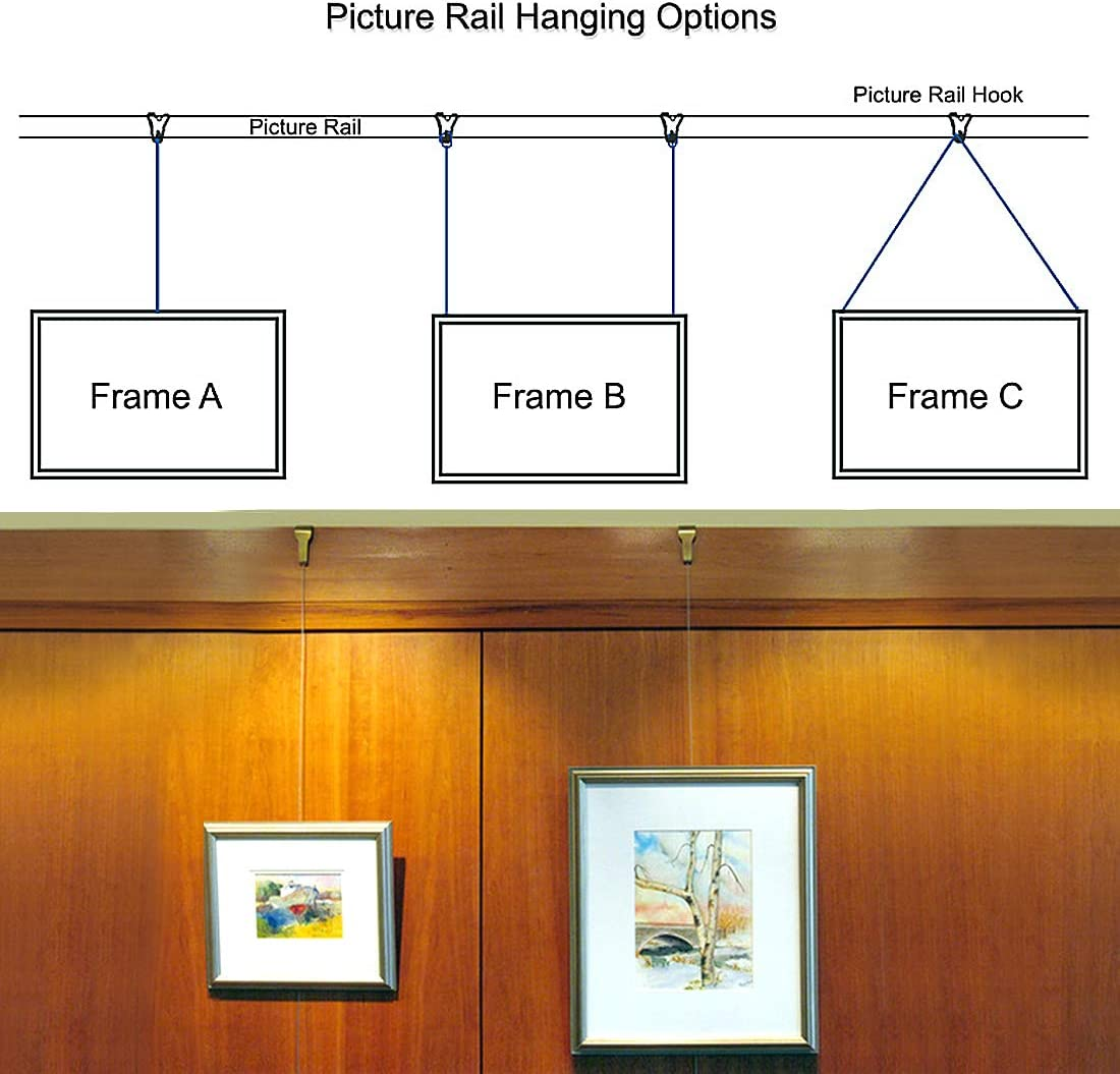 Solid Moulding Picture Hooks Hangers Rail Hanging Hook 52mmx34mm Bronze 25pcs