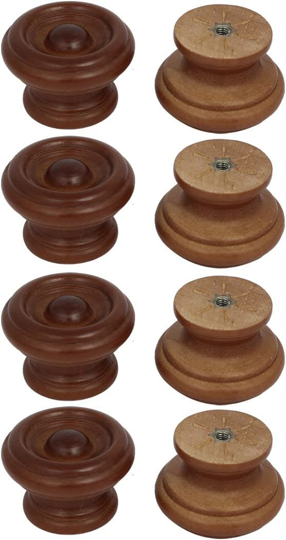 uxcell Cabinet Drawer 37mmx25mm Single Hole Wooden Pull Knobs Handles for Dresser Drawer Wardrobe, Red Brown 8pcs