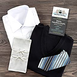 Brooklyn Bamboo #1 Men's Handkerchief Hankie 6 Pc Set White Soft, Durable, Absorbent Organic Bamboo