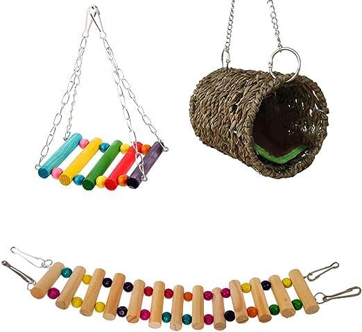 Hothap - Juego de 3 Piezas de papagayos de Juguete para hamacas, pájaros NES, Escalera de línea, Jaula de Juguete para Ara, periquitos de Onda y periquitos de NINFA, cacadu Canarios: Amazon.es:
