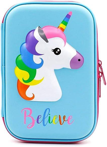 Bonito estuche con diseño de unicornio en relieve, Estuche para lápices con diseño de unicornio en relieve,caja de lápices para niños, estuche con múltiples compartimentos, color Unicorn Azul: Amazon.es: Oficina y papelería