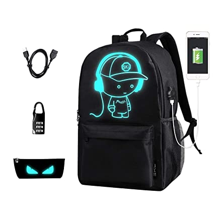 583206a25c14 Anime Backpack for School, SKL Luminous Backpack Canvas Cartoon Backpack  with USB Cable and Lock and Pencil Bag for Teens Girls Boys(Black) (Medium)