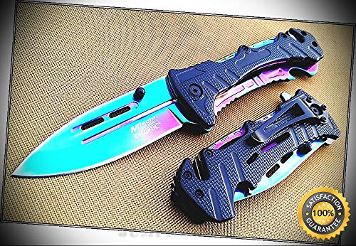 Mammoth Clip Blade - MTECH RAINBOW BLADE SPRING ASSISTED RSC SHARP KNIFE POCKET CLIP - 4.5'' CLOSED - Premium Quality Hunting Very Sharp EMT EDC