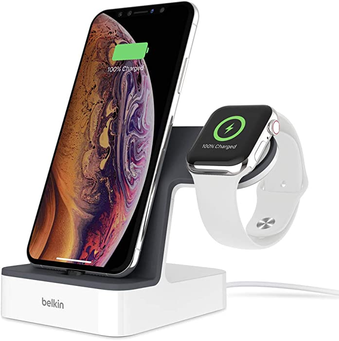 Belkin iPhone Charging Dock + Apple Watch Charging Stand (PowerHouse iPhone Charging Station) iPhone Dock, Apple Watch Dock, Apple Charging Station (White)