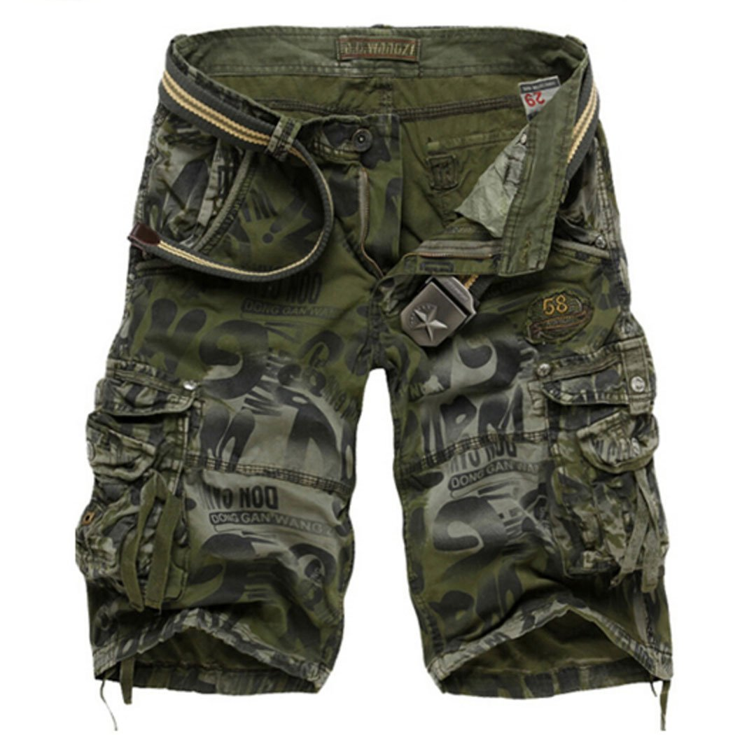 MR. R Men's Loose Fit Cargo Shorts Green Camo 42