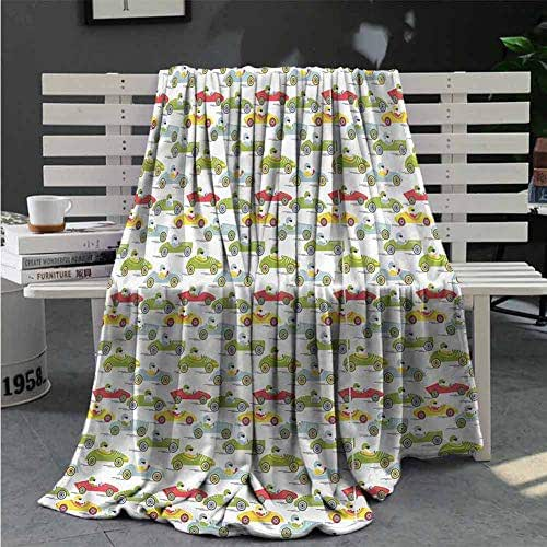 RenteriaDecor Cars Throw Blanket Ecology Cartoon Car Character All Season Throws for Bed Or Sofa Great Gifts to Your Family,Friends,Kids