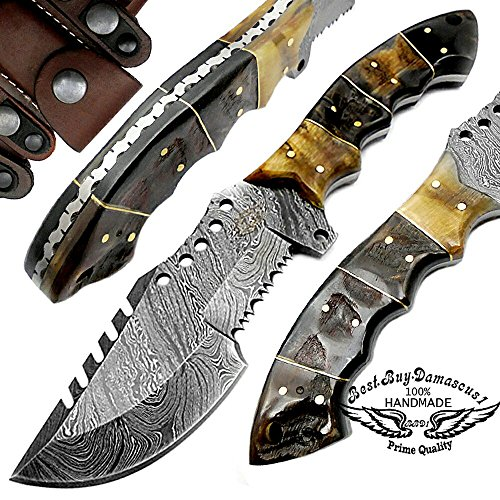 - Ram Horn 9.5'' Tracker Fixed Blade Custom Hand Made Damascus Steel Hunting Knife 100% Prime Quality