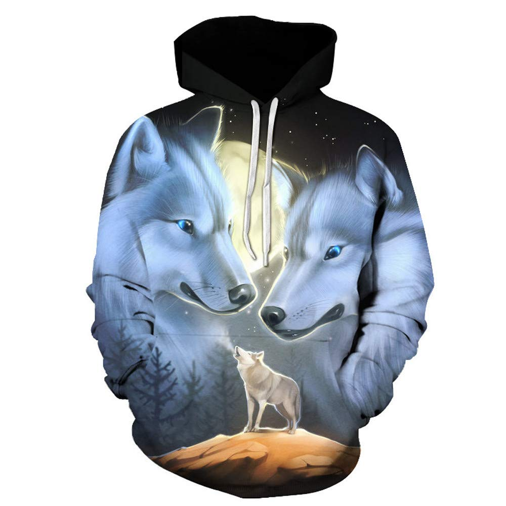 Amazon.com: Men Funny 3D Printed Clothes,Man Wolf Pattern Pocket Hooded Tee Long Sleeve Loose Top Pullover: Clothing