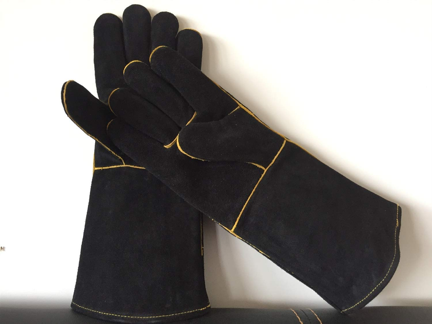 Extreme Heat & Fire Resistant Gloves Leather Perfect for Fireplace, Stove, Oven Mitt, Grill Pit, Welding, Furnace,BBQ,Mig, Pot Holder,Black,16 Inch Home & Kitchen (Color : Black, Size : L-One Pair) by YAOSHIBIAN-Oven Mitts (Image #5)
