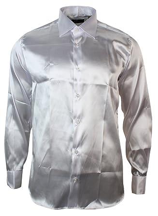 Mens Italian Design White Silk Satin Finish Shirt Smart Slim Fit: Amazon.co.uk: Clothing
