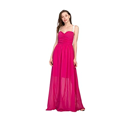 Chnli Fashion Women Sexy Deep V Long Sleeveless Strap High Waist Backless Formal Prom Dress Side