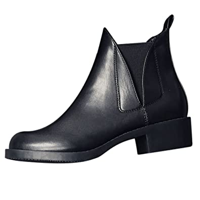 Ankle Rain Boot- Chelsea Low Heel Casual Bootie Women's Black Cowgirl Walking Slip on Ankle Boot