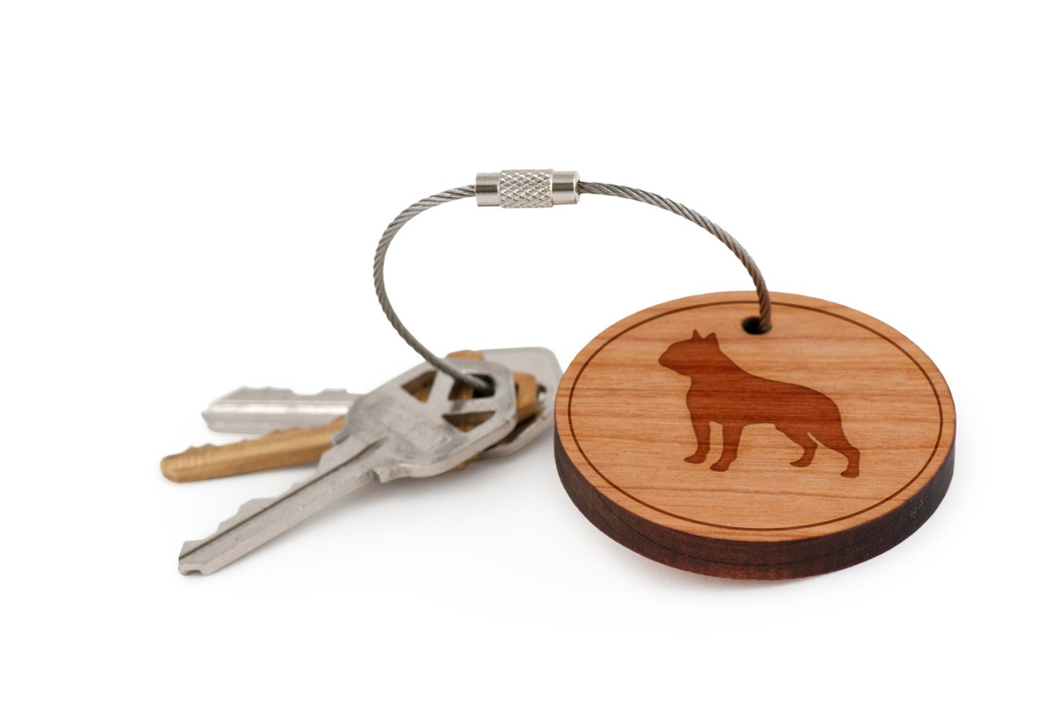 Boston Terrier Keychain, Wood Twist Cable Keychain - Large WoodenAccessoriesCo