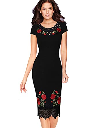 3993747214f VFSHOW Womens Floral Embroidered Work Business Office Cocktail Party Dress  at Amazon Women s Clothing store