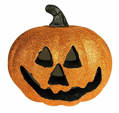 8 inch Light Up Glitter Pumpkin (Orange)