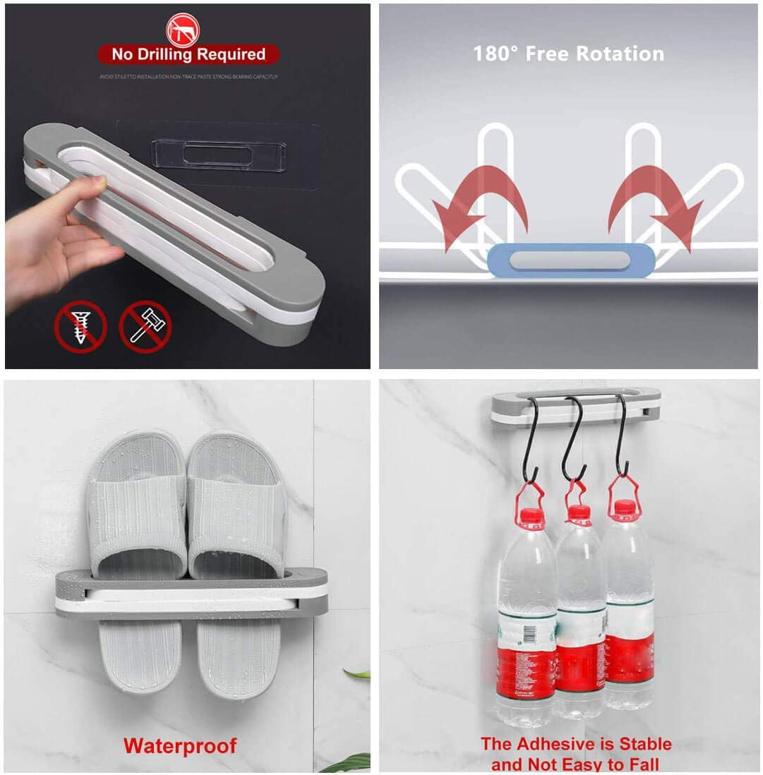 Shoe Organizer Rack for Entryway and Closet 2 Pack,Grey Slipper Racks Shoe Rack Holder No-Drilling Over the Door Shoe Organizer 3 in 1 Foldable Waterproof Bathroom Wall Shoe Rack to Hang on Wall
