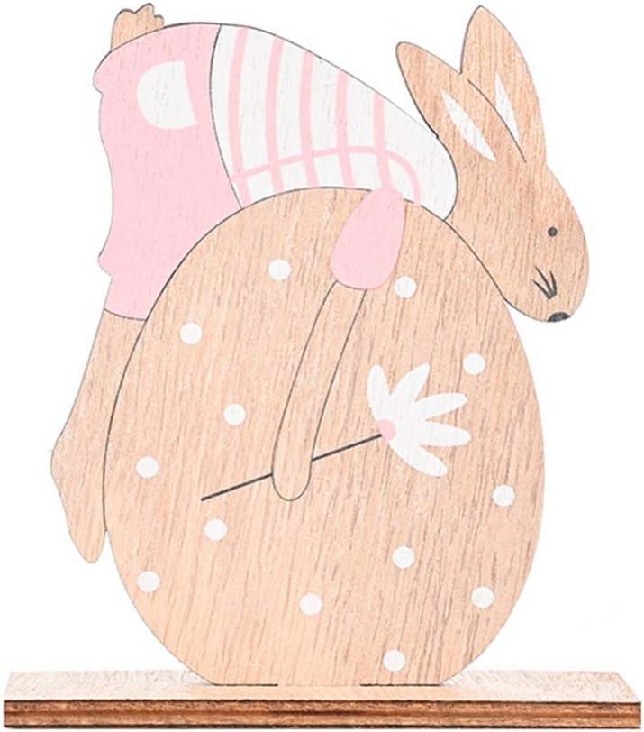 Ohhome 2020 Pascua Artesanías de Madera Huevo de Madera de Pascua Conejo Decoración Animal Lindo Regalo de Madera Animal Estatuilla Mascota Regalo de Pascua