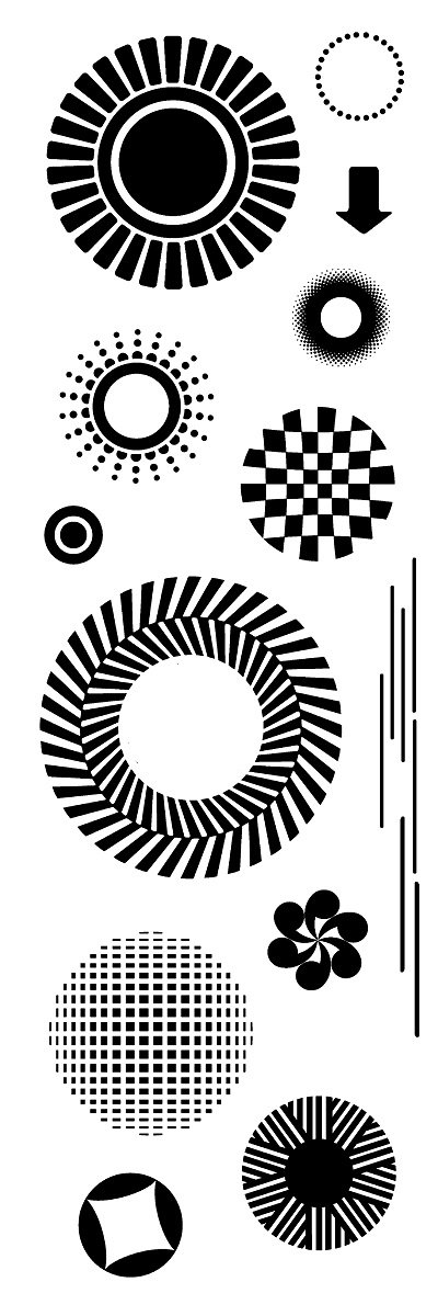 Woodware 3 x 8 Clear Cling Stamps - FRS369 Mod Circles by WoodWare