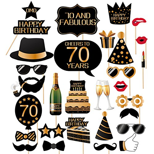 IHopes+ 70th Birthday Photo Booth Props-70th Birthday Photobooth Props for Men and Women-32 Pieces -