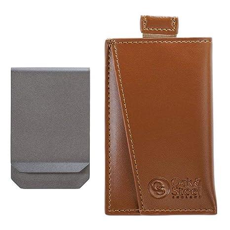 RFID Cartera de Tarjeta de Cuero Genuino - con Clip para Billetes, Pinzas de Dinero