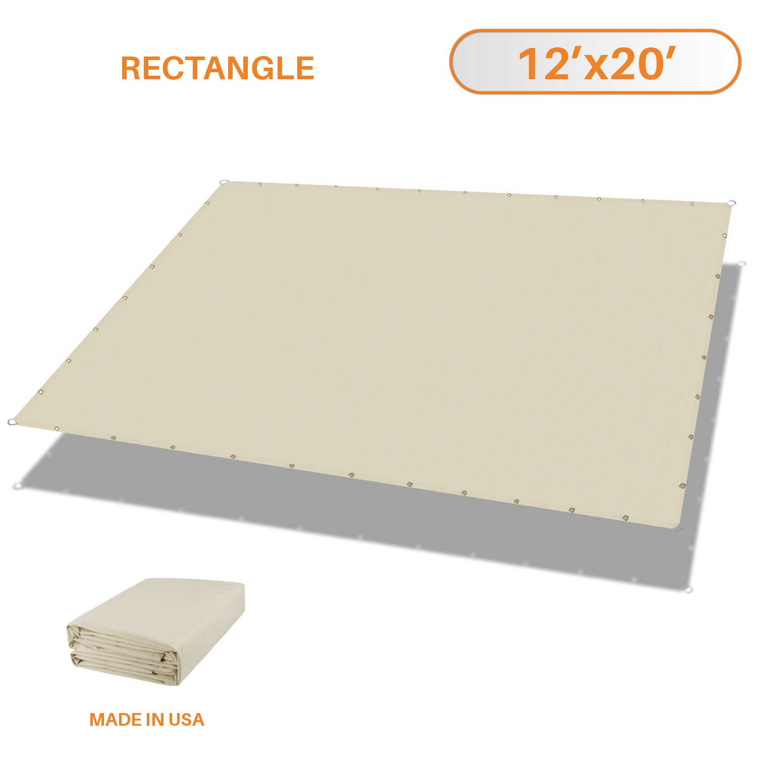 Sunshades Depot Tang 12'x20' Waterproof Rectangle Sun Shade Sail 220 GSM Beige Straight Edge Canopy with Grommet UV Block Shade Fabric Pergola Cover Awning Customize Available