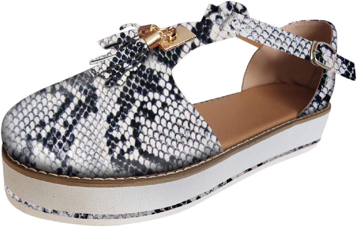 Tsmile Women Snake Skin Print Lace Up Bandage Sandals Summer Ladies Peep Toe Ankle Strap Platform Wedge Party Flats