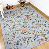 KEPSWET Fashion Rural Style Carpets Vintage Floral Ornament Rugs Bedroom Living Room Rugs Baby Crawling Carpets Door Mats Foot Mats Area Rugs (3'9×5'9, B) Review