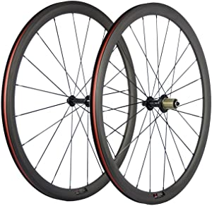 SunRise Bike 1 Pair of Road Bike Carbon 700C Clincher Wheelset Super Light Bicycle Wheels 38mm Depth