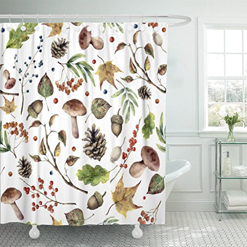 Emvency Shower Curtain Watercolor Autumn Forest Hand Mushroom Rowan Fall Leaves Tree Branch Pine Cone Berry and Acorn White Waterproof Polyester Fabric 72 x 72 inches Set with Hooks