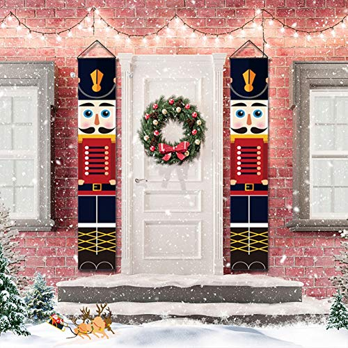 Gyrategirl Nutcracker Christmas Decorations - Nutcracker Banners - Life Size Soldier Model Nutcracker Porch Signs - Xmas Decor Banners for Indoor & Outdoor Wall Front Door Apartment Party (C-1pc)