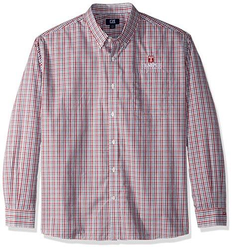 (Cutter & Buck NCAA Temple Owls Men's Long Sleeve Gilman Plaid Shirt, Small, Cardinal Red)