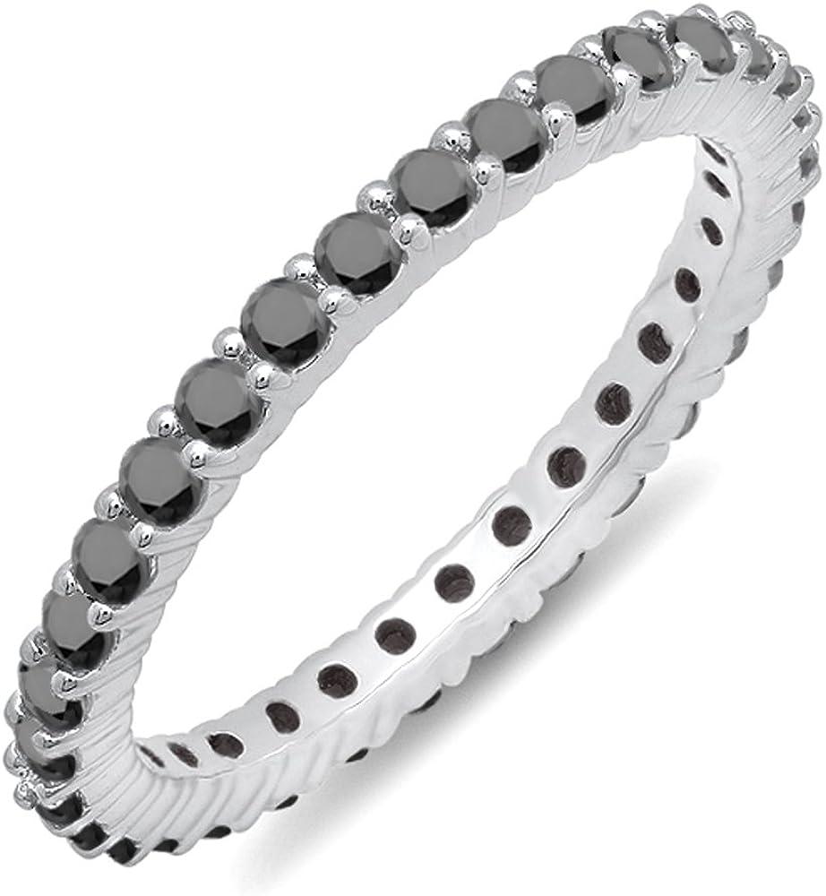 Black Diamond Eternity Band size 7.0 NEW .70ctw Ladies 14K White Gold 2mm