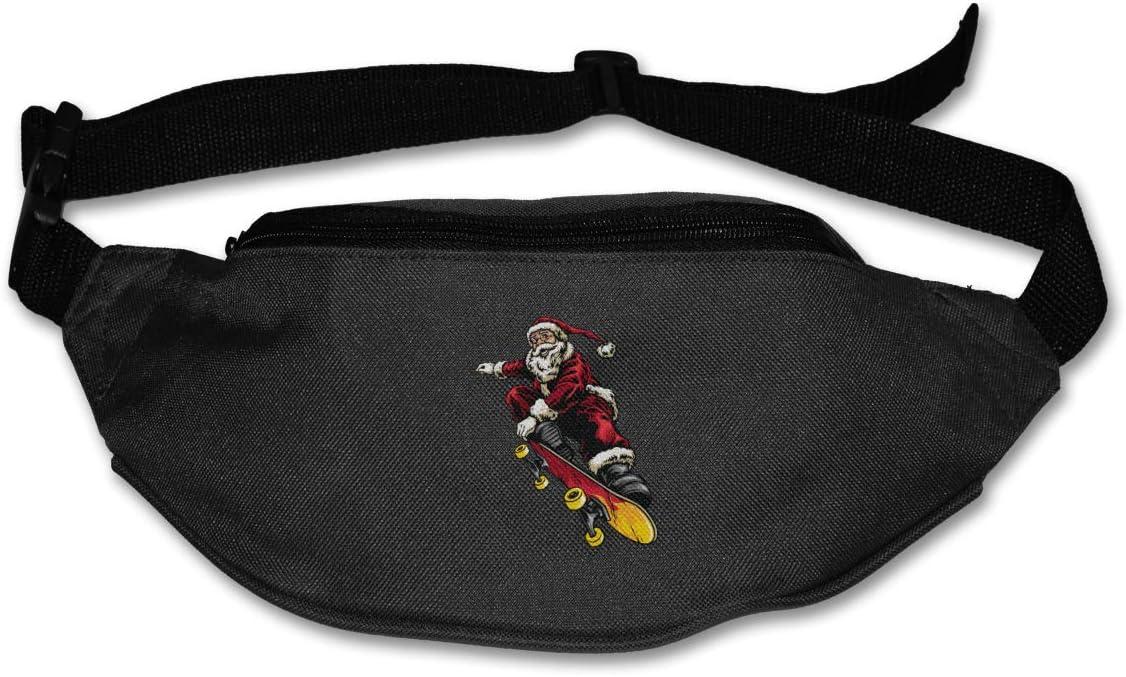 Santa Riding Skateboard Waist Pack Adjustable Sport Fanny Pack For Hike